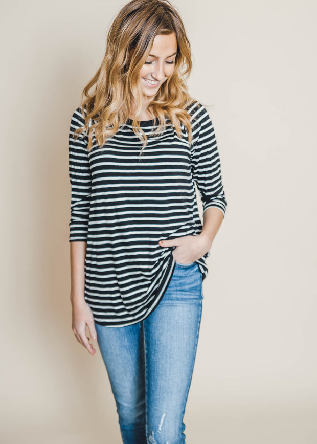 3/4 striped black ivory top