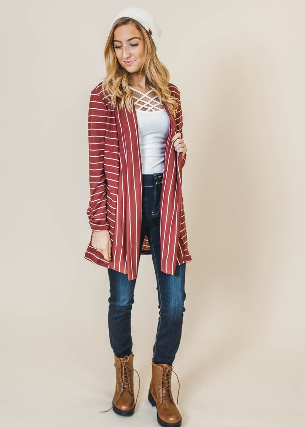 burgundy striped thermal cardigan