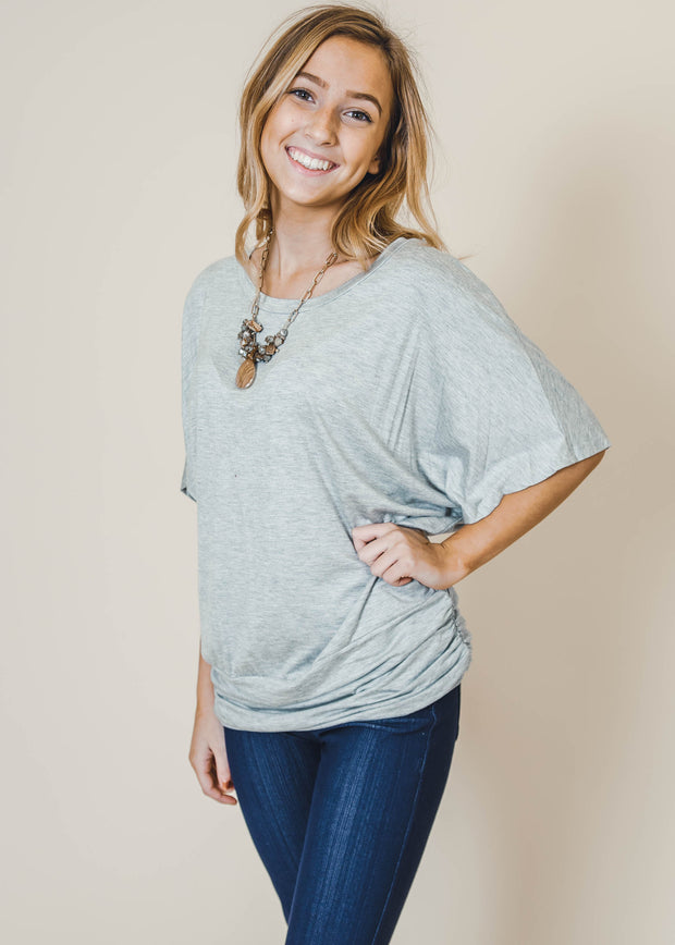 heather gray dolman fitted bottom short sleeve top