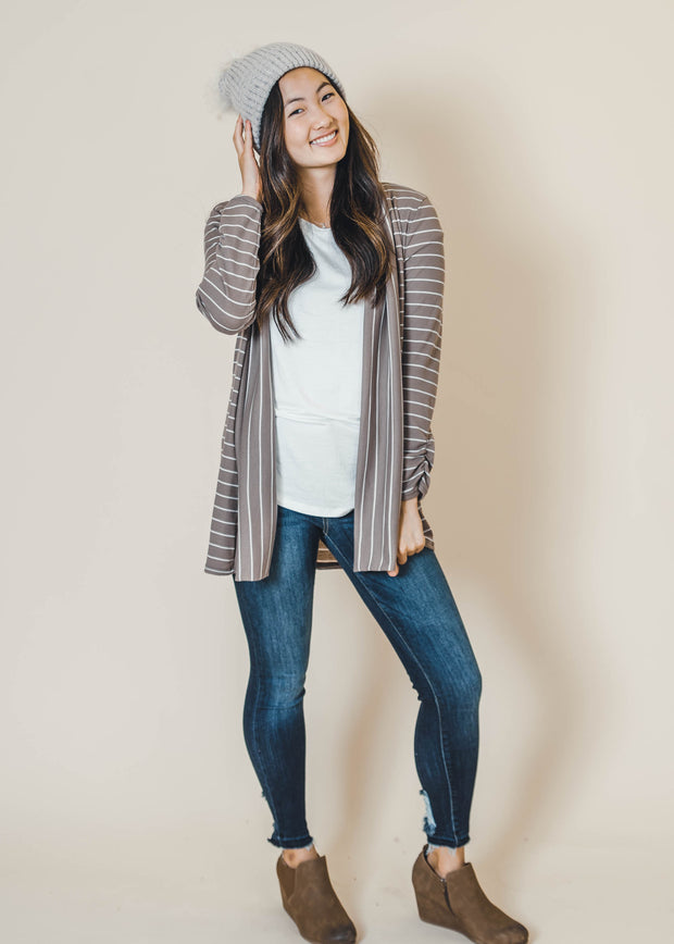 mocha striped thermal cardigan