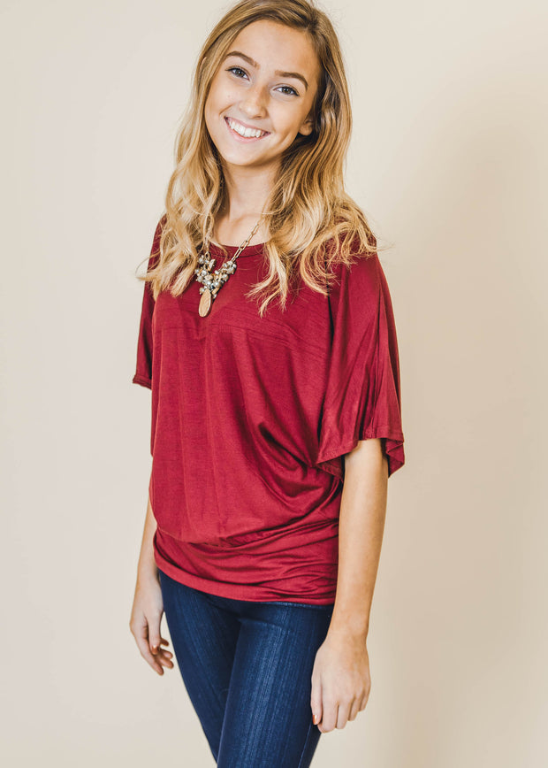 burgundy dolman fitted bottom short sleeve top