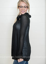 Knit Sweater Cowl Neck with button detail-black