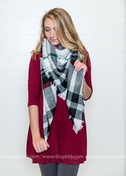 Cozy in Winter Plaid Blanket Scarf Red/Hunter Green - FINAL SALE, SALE, BAD HABIT BOUTIQUE , BAD HABIT BOUTIQUE
