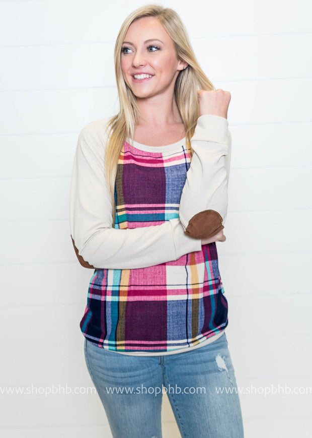 Color Block Plaid Top- Fuchsia, SWEATERS, PS KATE, badhabitboutique