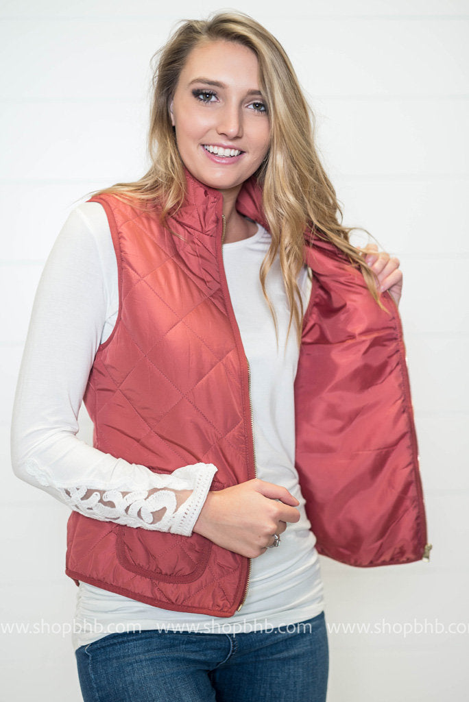 Diamond Quilted Pattern Vest w/ Pockets, VESTS, trend:notes, badhabitboutique
