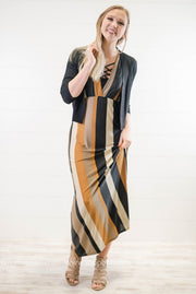 Striped V-neck Striped Maxi Dress