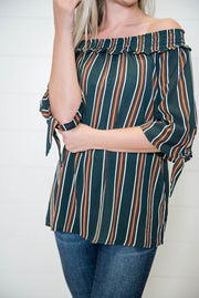 This striped off the shoulder top has the stripes of hunter green, rust and ivory, check out the cutest tie sleeves.