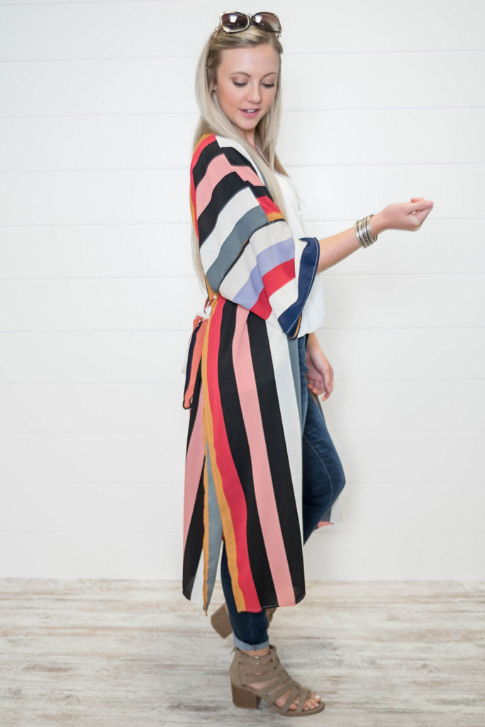 Confidently Confident Striped Duster-Red, SALE, Vine & Love, badhabitboutique