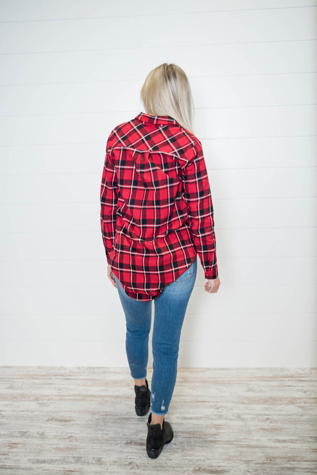 This red boyfriend plaid flannel is the perfect to layer or not to layering flannel plaid.