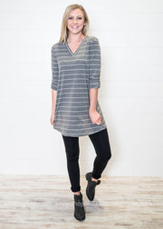 3/4 Sleeve Striped Tunic - FINAL SALE, SALE, Style Rack, BAD HABIT BOUTIQUE