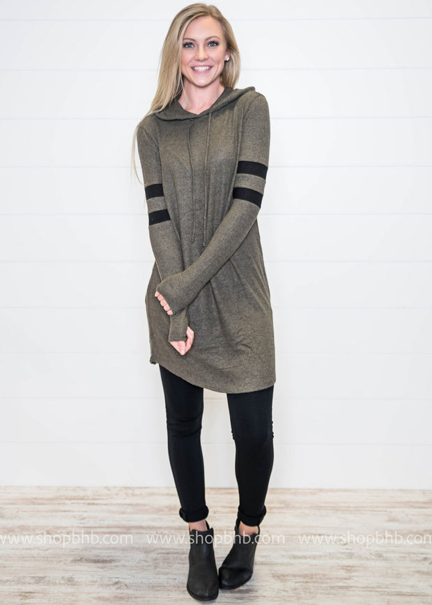 Pairing this Sporty Spice Hooded Dress with leggings and tennis shoes is a comfortable yet chic style.