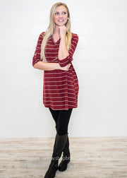 3/4 Sleeve Striped Tunic, TOPS, Style Rack, badhabitboutique