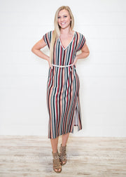 This is me multi stripe dress is for that eclectic fashionista!