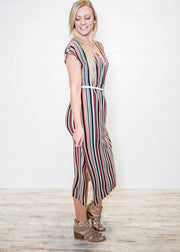 This multi stripe dress with a side slit is a stylist influencer's dream right down to the ankle.