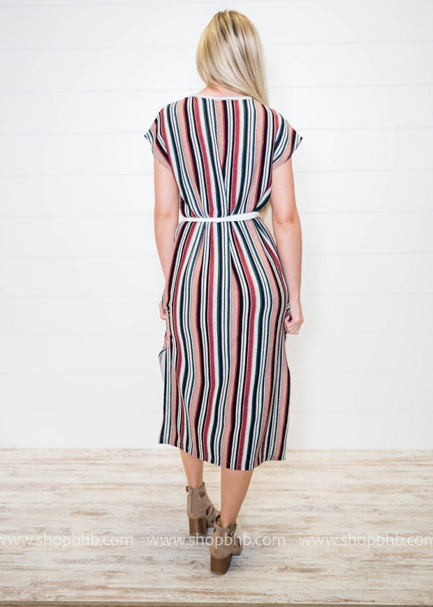 This cap sleeve striped dress hits right above the ankle with stripes of mauve, wine, gray, black, hunter green, all blended up together.