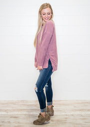 This Simple Things Sweater in mauve is not only a cozy sweater for this winter weather but it's adorable!