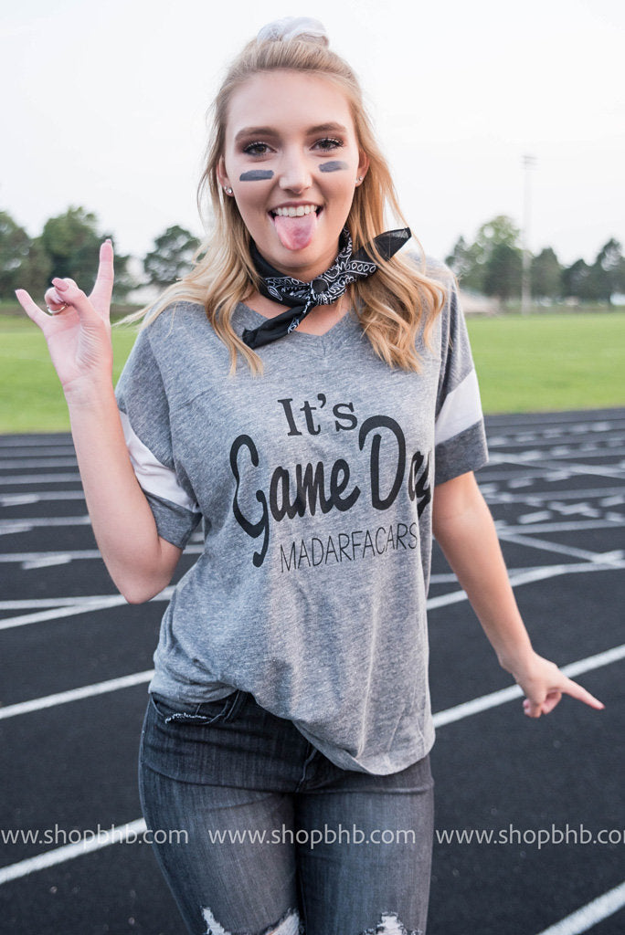 It's Game Day Madarfacars Graphic Tee | Gray