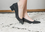 Suede low block heel perfect for office