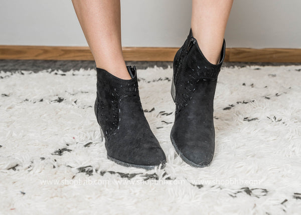 Black Western Bootie - Morrison-21- Final Sale - BAD HABIT BOUTIQUE