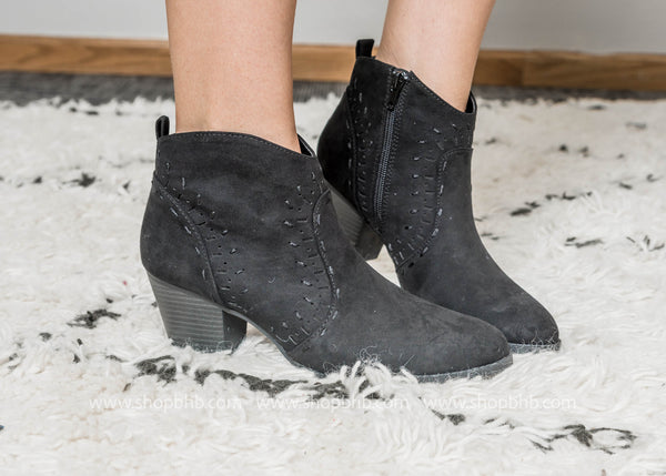 Black Western Bootie - Morrison-21- Final Sale, SHOES, East Lion Corp, BAD HABIT BOUTIQUE