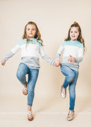 mint gray white colorblock kids hoodie