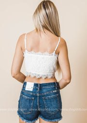 ivory lace crop top bralette