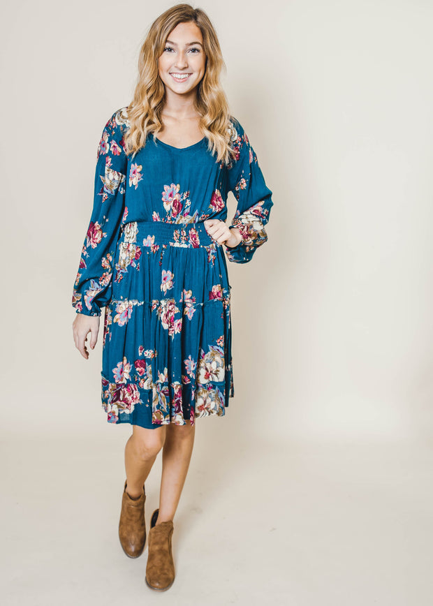 Floral Long Sleeve Teal Tiered Dress