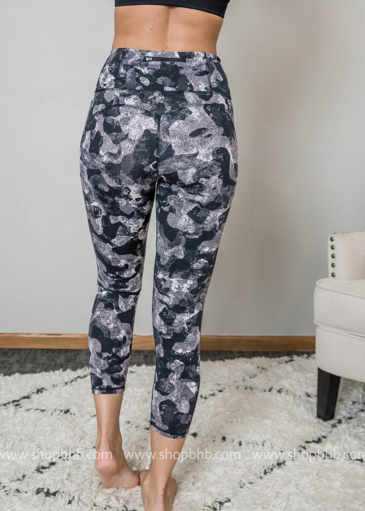 Monochrome Camo Print Highwaist Mesh Leggings- Workout Wear