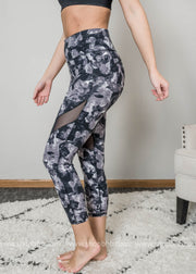 monochrome camo print highwaist mesh leggings workout wear active wear