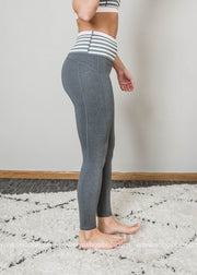 Highwaist Heather Gray Stripes & Colorblock Full Leggings Workout, CLOTHING, Mono B, BAD HABIT BOUTIQUE