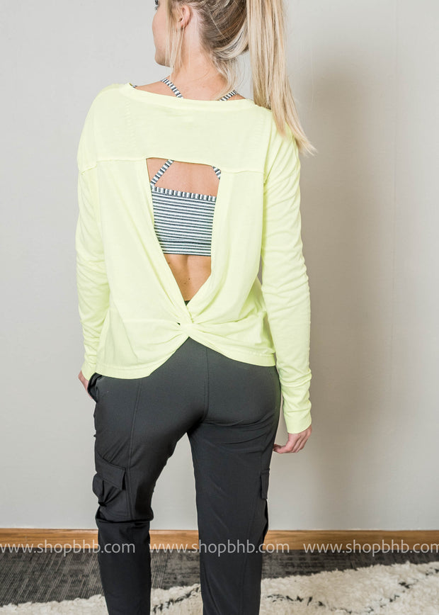 46da041a5b20d This mono b overlay twist cut-out back top is the perfect workout wear cover