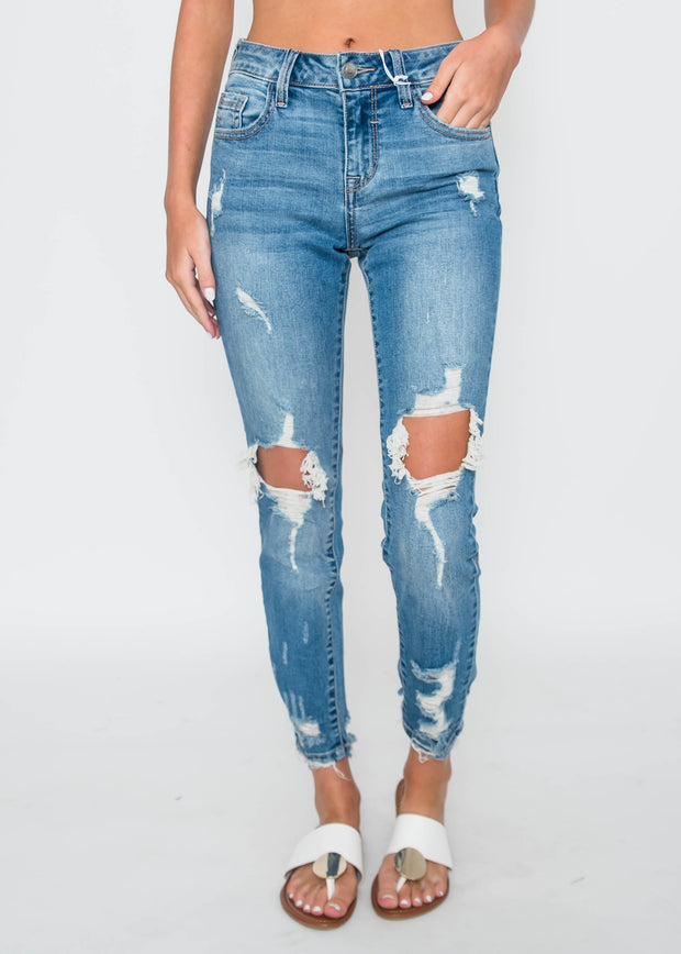 Mid Rise Open Knee Crop Skinny Jean - Cello, CLOTHING, CELLO JEANS, BAD HABIT BOUTIQUE