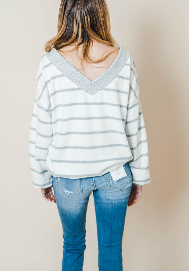 striped knit vneck dropped shoulder long puff sleeve ivory heather gray