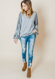 vneck long sleeve lantern bishop sleeve shimmer contrasts heather gray