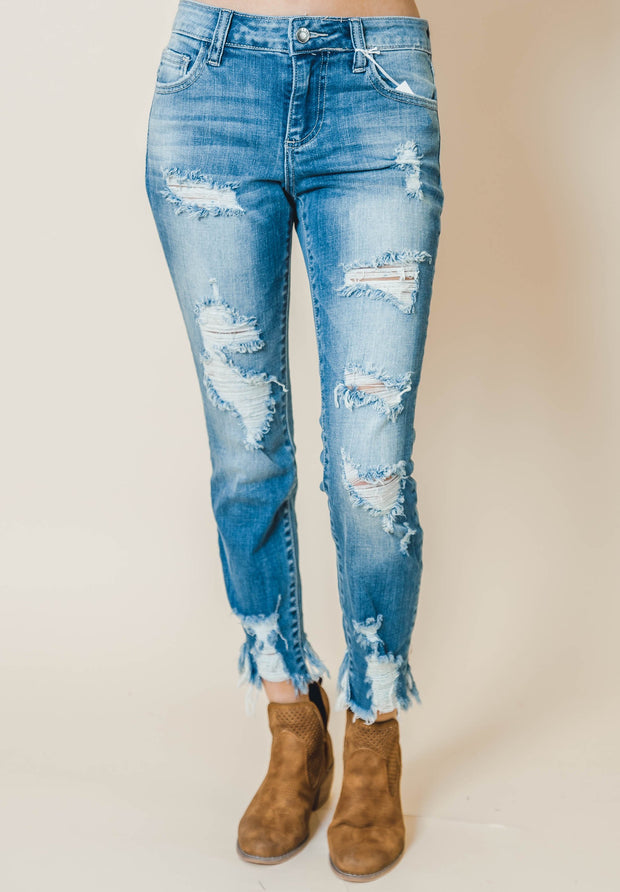 distressed ankle cutout skinny