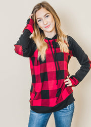 red buffalo paid long sleeve  hooded black top