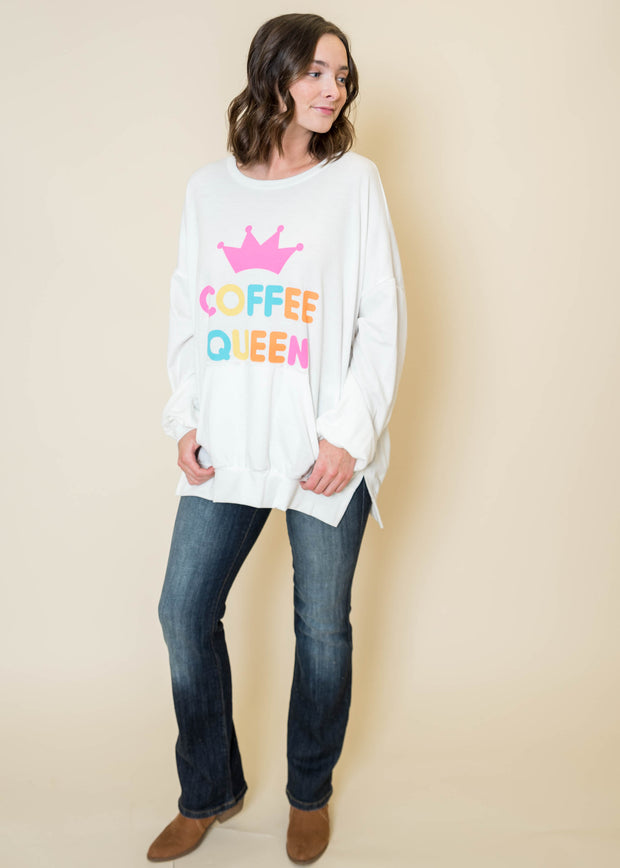 Coffee Queen Ivory Sweatshirt - Final Sale