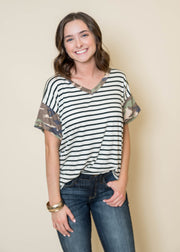 Camo & Stripes Vneck Top - Final Sale