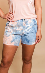 Tie Dye Denim Shorts - Navy/Orange - BAD HABIT BOUTIQUE