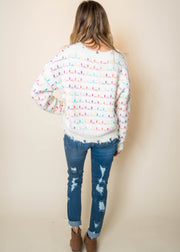 distressed confetti sweater, cropped sweater, ivory sweater, pom pom sweater