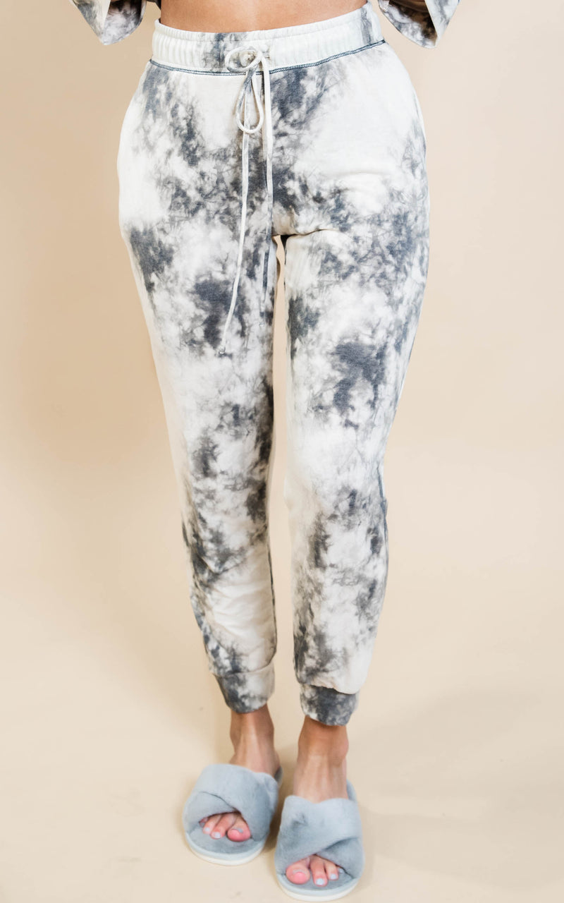 Tie Dye Knit Joggers - Ivory/Black, Clothing, White Birch, BAD HABIT BOUTIQUE