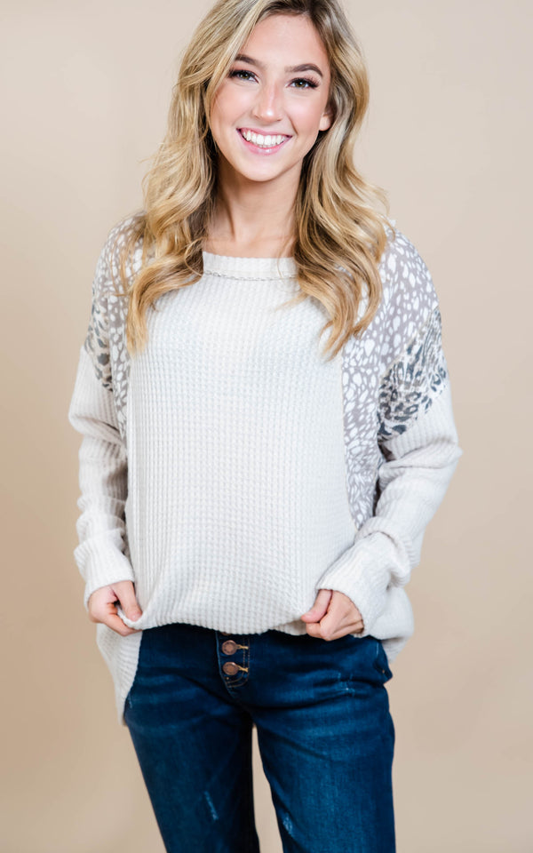 Waffle Knit Contrast Top, CLOTHING, White Birch, BAD HABIT BOUTIQUE