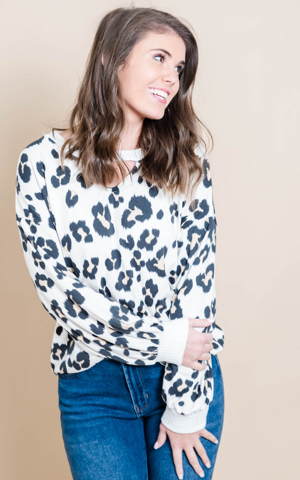 Ivory Leopard Top | FINAL SALE, CLOTHING, White Birch, BAD HABIT BOUTIQUE
