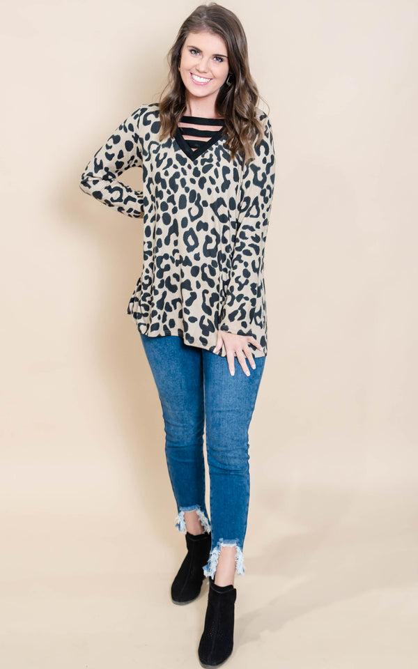 Leopard Criss Cross Tunic Top, CLOTHING, Heimish, BAD HABIT BOUTIQUE