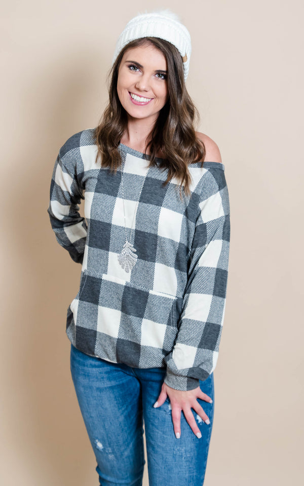 Buffalo Plaid Top - Charcoal & Ivory, CLOTHING, Heimish, BAD HABIT BOUTIQUE