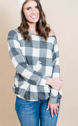 Buffalo Plaid Top - Charcoal & Ivory | FINAL SALE, CLOTHING, Heimish, BAD HABIT BOUTIQUE
