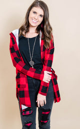 Buffalo Plaid Hooded Cardigan- Red/Black, CLOTHING, Heimish, BAD HABIT BOUTIQUE