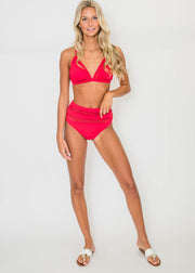 2 Piece Red Mesh Swimsuit