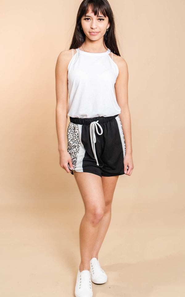 Sporty Shorts with Leopard Stripe - BAD HABIT BOUTIQUE