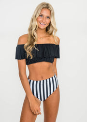 2 Piece Off Shoulder High Waisted Striped Swimsuit